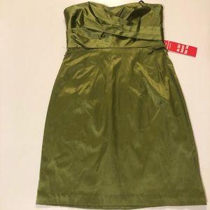 Olive Green Strapless Dress